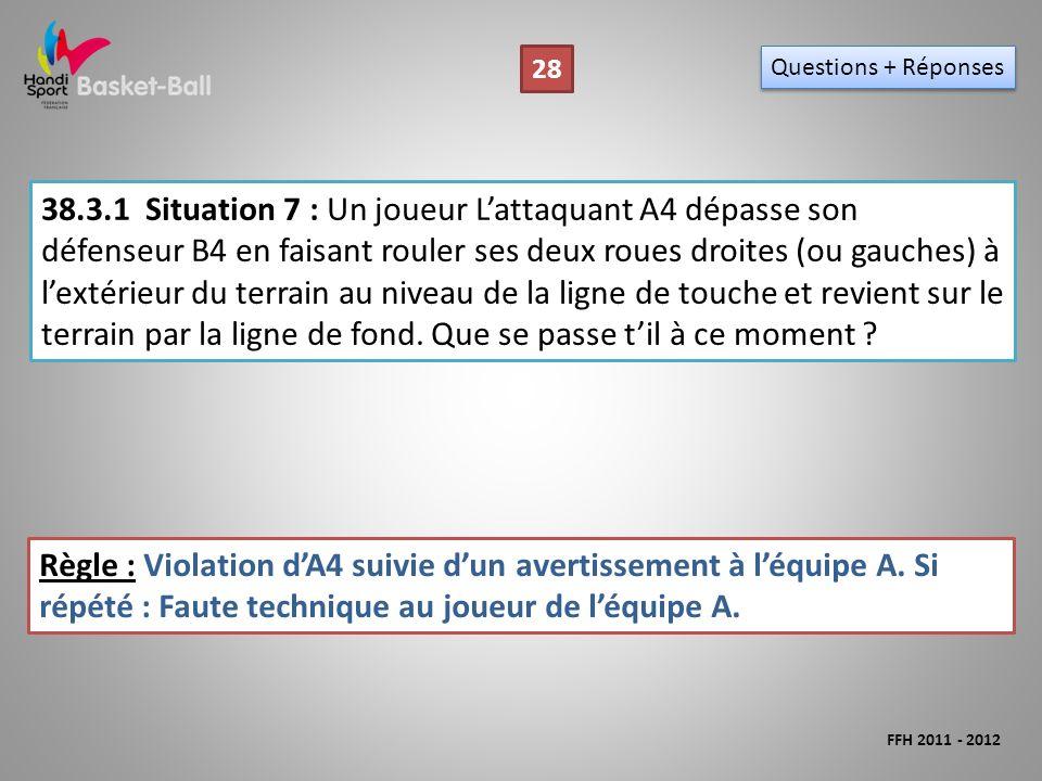 38.3.1Situation 7 : Un joueur Lattaquant A4 dépasse son défenseur B4 en faisant rouler ses deux roues droites (ou gauches) à lextérieur du terrain au niveau de la ligne de touche et revient sur le terrain par la ligne de fond.