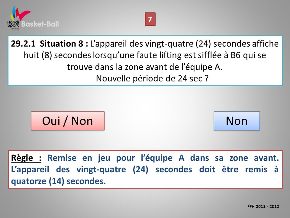 29.2.1Situation 8 : Lappareil des vingt-quatre (24) secondes affiche huit (8) secondes lorsquune faute lifting est sifflée à B6 qui se trouve dans la zone avant de léquipe A.