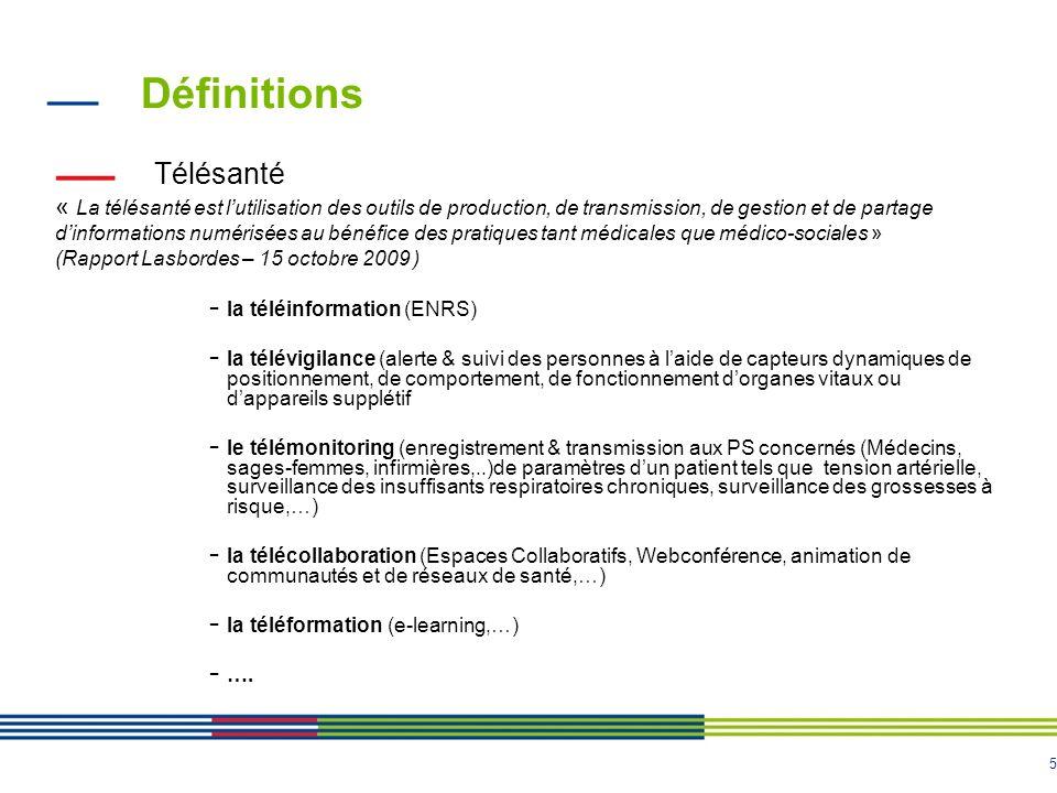 5 Définitions Télésanté « La télésanté est lutilisation des outils de production, de transmission, de gestion et de partage dinformations numérisées au bénéfice des pratiques tant médicales que médico-sociales » (Rapport Lasbordes – 15 octobre 2009 ) - la téléinformation (ENRS) - la télévigilance (alerte & suivi des personnes à laide de capteurs dynamiques de positionnement, de comportement, de fonctionnement dorganes vitaux ou dappareils supplétif - le télémonitoring (enregistrement & transmission aux PS concernés (Médecins, sages-femmes, infirmières,..)de paramètres dun patient tels que tension artérielle, surveillance des insuffisants respiratoires chroniques, surveillance des grossesses à risque,…) - la télécollaboration (Espaces Collaboratifs, Webconférence, animation de communautés et de réseaux de santé,…) - la téléformation (e-learning,…) - ….