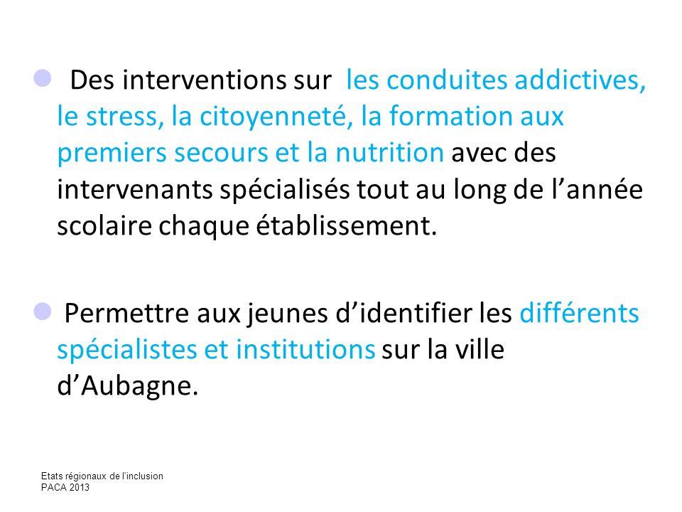 Des interventions sur les conduites addictives, le stress, la citoyenneté, la formation aux premiers secours et la nutrition avec des intervenants spé