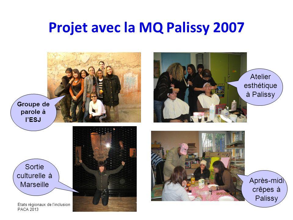 Projet avec la MQ Palissy 2007 Groupe de parole à lESJ Atelier esthétique à Palissy Sortie culturelle à Marseille Après-midi crêpes à Palissy Etats ré