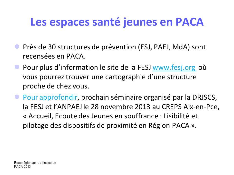 Les espaces santé jeunes en PACA Près de 30 structures de prévention (ESJ, PAEJ, MdA) sont recensées en PACA. Pour plus dinformation le site de la FES