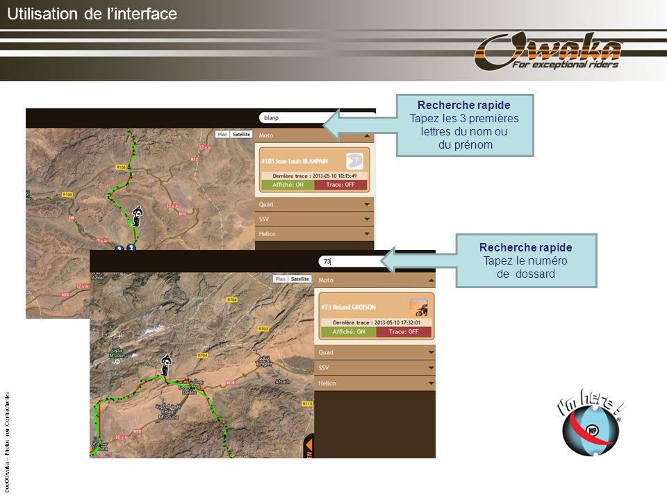 Utilisation de linterface Cliquez sur une moto : le nom, la date, lheure et la position apparaissent.