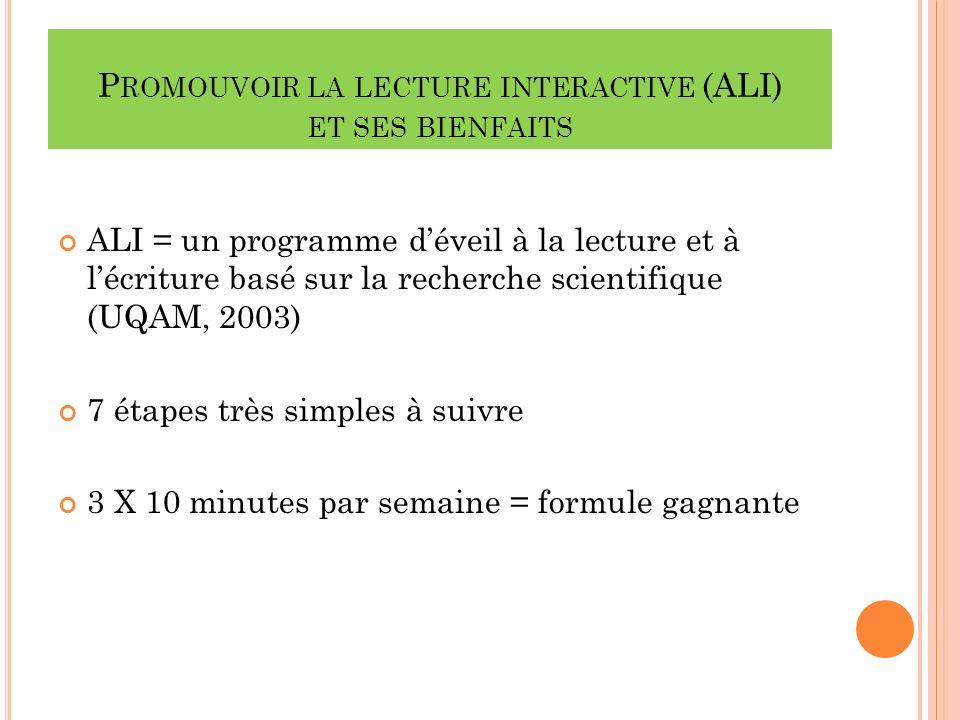 P ROMOUVOIR LA LECTURE INTERACTIVE (ALI) ET SES BIENFAITS ALI = un programme déveil à la lecture et à lécriture basé sur la recherche scientifique (UQAM, 2003) 7 étapes très simples à suivre 3 X 10 minutes par semaine = formule gagnante