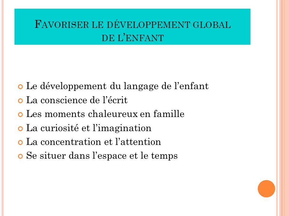 F AVORISER LE DÉVELOPPEMENT GLOBAL DE L ENFANT Le développement du langage de lenfant La conscience de lécrit Les moments chaleureux en famille La cur
