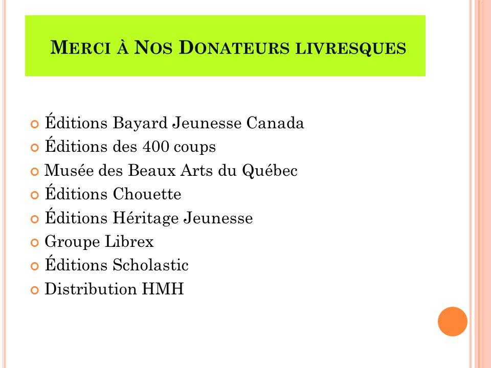Éditions Bayard Jeunesse Canada Éditions des 400 coups Musée des Beaux Arts du Québec Éditions Chouette Éditions Héritage Jeunesse Groupe Librex Éditi