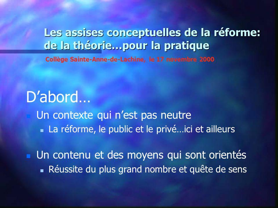 Les assises conceptuelles de la réforme: de la théorie…pour la pratique Dabord… Un contexte qui nest pas neutre La réforme, le public et le privé…ici
