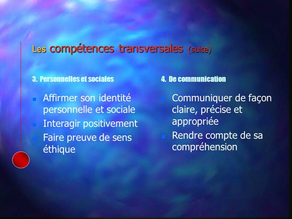 Affirmer son identité personnelle et sociale Interagir positivement Faire preuve de sens éthique Communiquer de façon claire, précise et appropriée Rendre compte de sa compréhension 3.