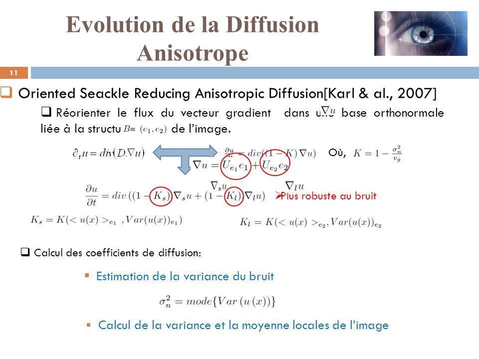 Où, Plus robuste au bruit Réorienter le flux du vecteur gradient dans une base orthonormale liée à la structure locale de limage. Estimation de la var