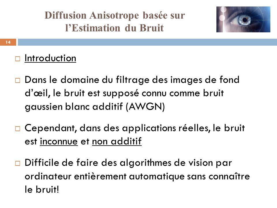 14 Introduction Dans le domaine du filtrage des images de fond dœil, le bruit est supposé connu comme bruit gaussien blanc additif (AWGN) Cependant, d
