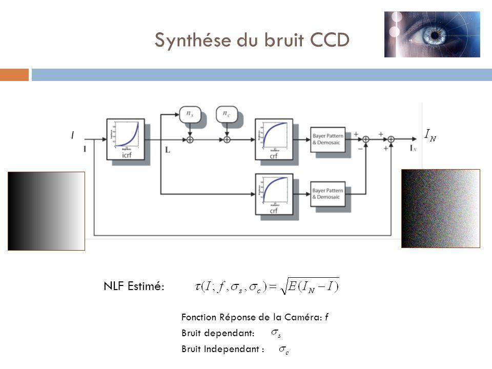 Synthése du bruit CCD NLF Estimé: I Fonction Réponse de la Caméra: f Bruit dependant: Bruit Independant :