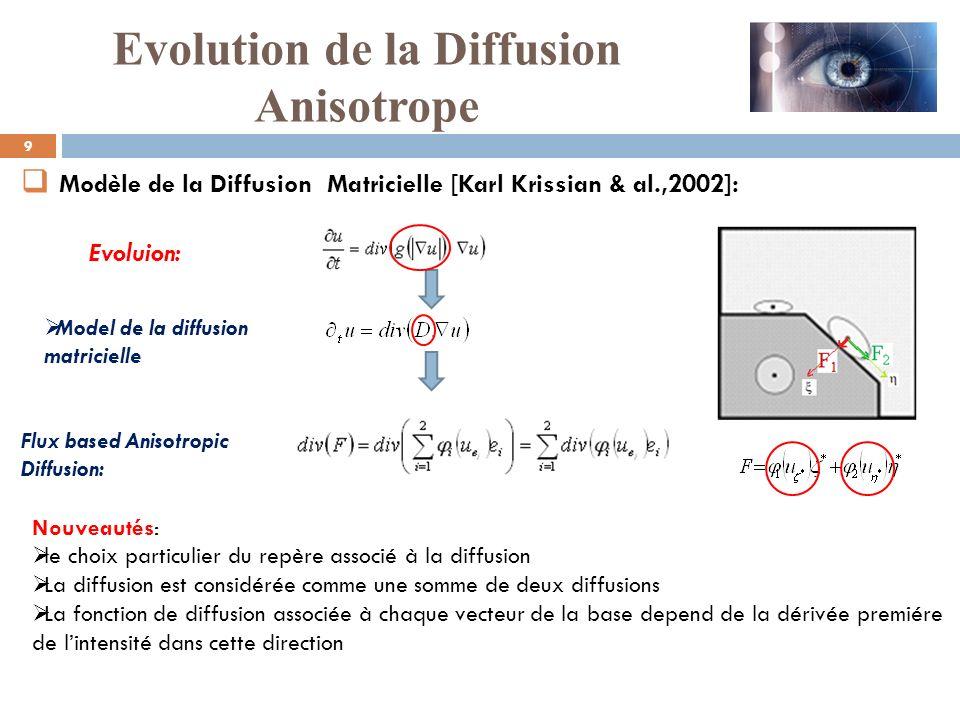 Flux based Anisotropic Diffusion: Modèle de la Diffusion Matricielle [Karl Krissian & al.,2002]: Model de la diffusion matricielle Evoluion: Nouveauté