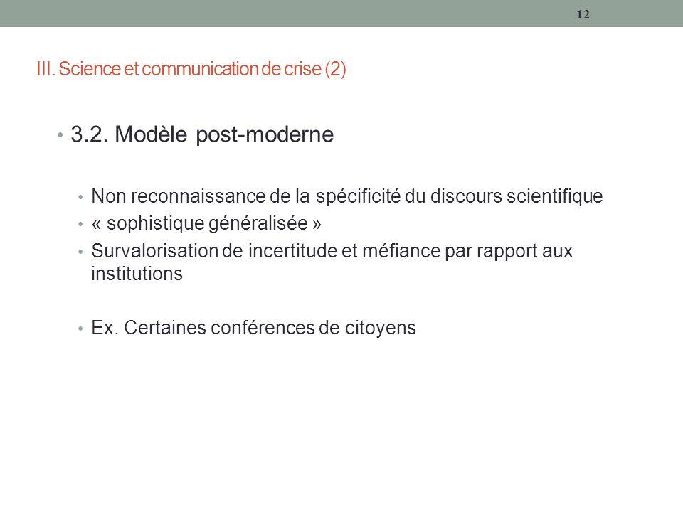 III. Science et communication de crise (2) 3.2.