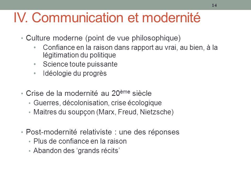 IV. Communication et modernité Culture moderne (point de vue philosophique) Confiance en la raison dans rapport au vrai, au bien, à la légitimation du
