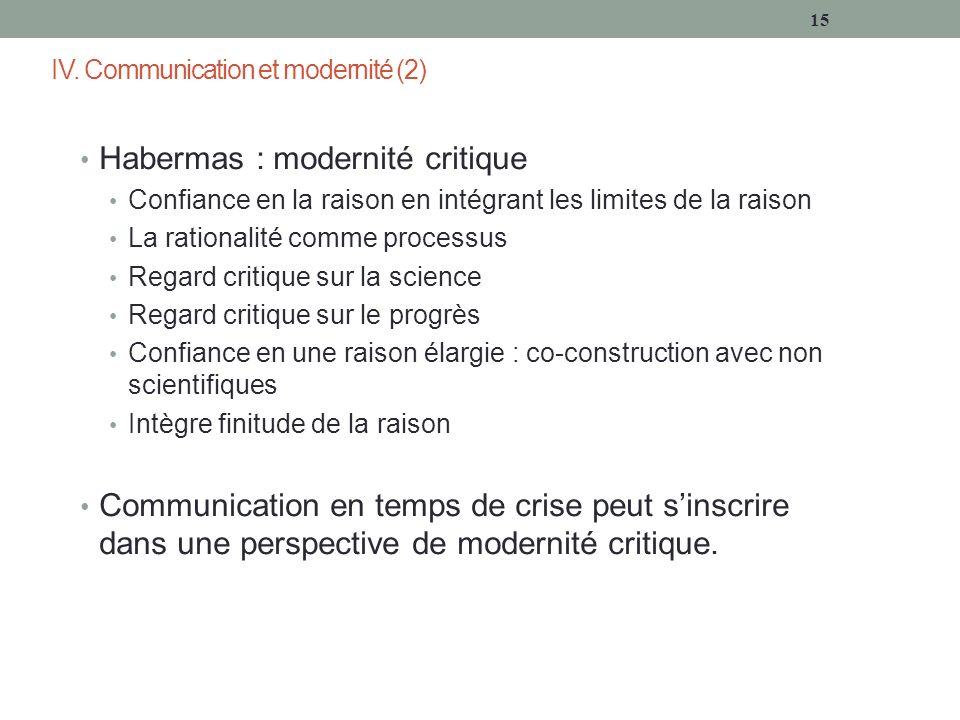 IV. Communication et modernité (2) Habermas : modernité critique Confiance en la raison en intégrant les limites de la raison La rationalité comme pro