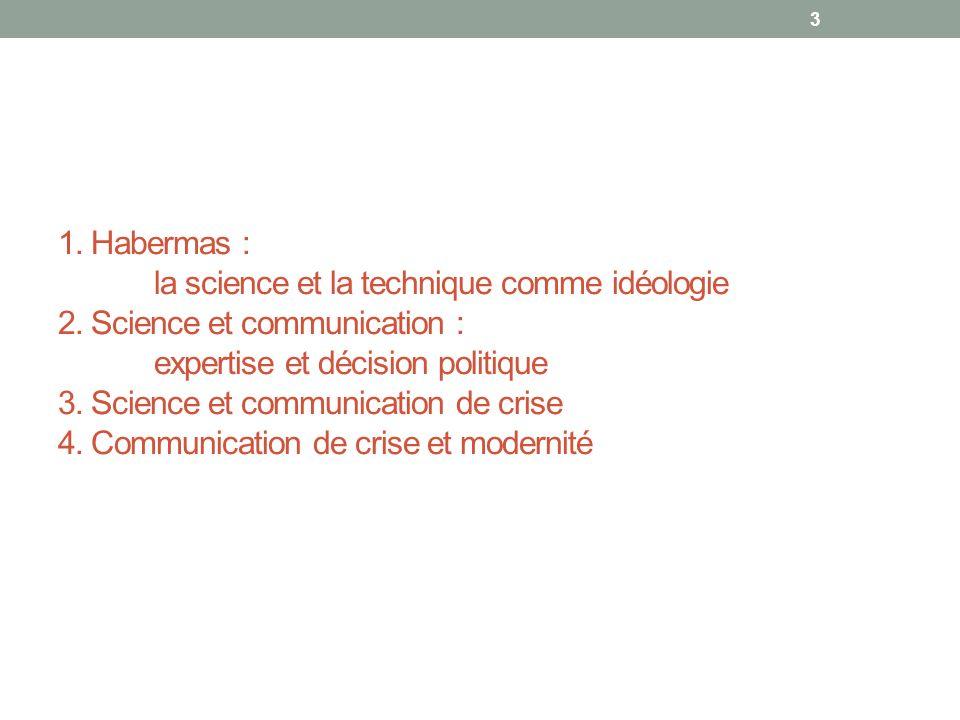 1. Habermas : la science et la technique comme idéologie 2.