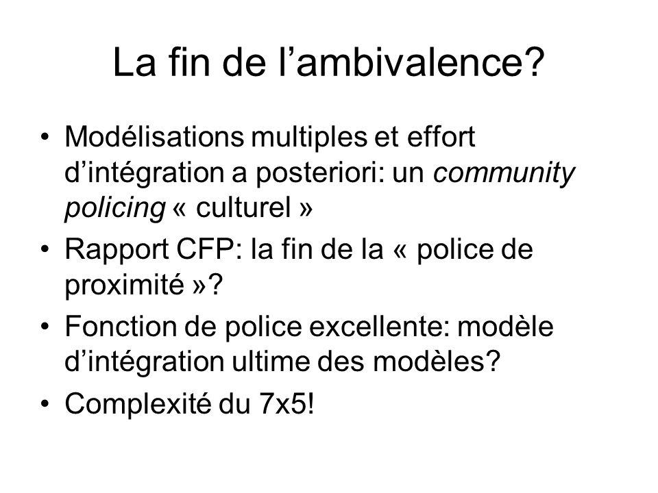 La fin de lambivalence? Modélisations multiples et effort dintégration a posteriori: un community policing « culturel » Rapport CFP: la fin de la « po