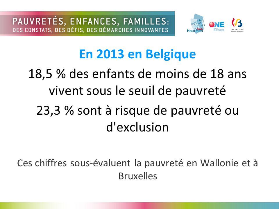 En 2013 en Belgique 18,5 % des enfants de moins de 18 ans vivent sous le seuil de pauvreté 23,3 % sont à risque de pauvreté ou d exclusion Ces chiffres sous-évaluent la pauvreté en Wallonie et à Bruxelles
