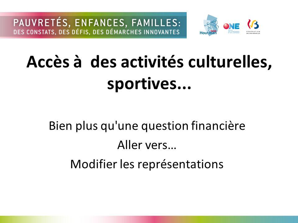 Accès à des activités culturelles, sportives...