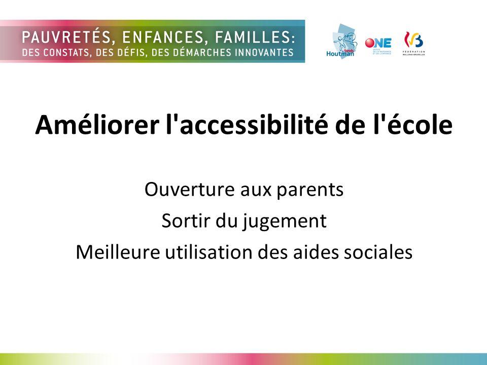 Améliorer l accessibilité de l école Ouverture aux parents Sortir du jugement Meilleure utilisation des aides sociales