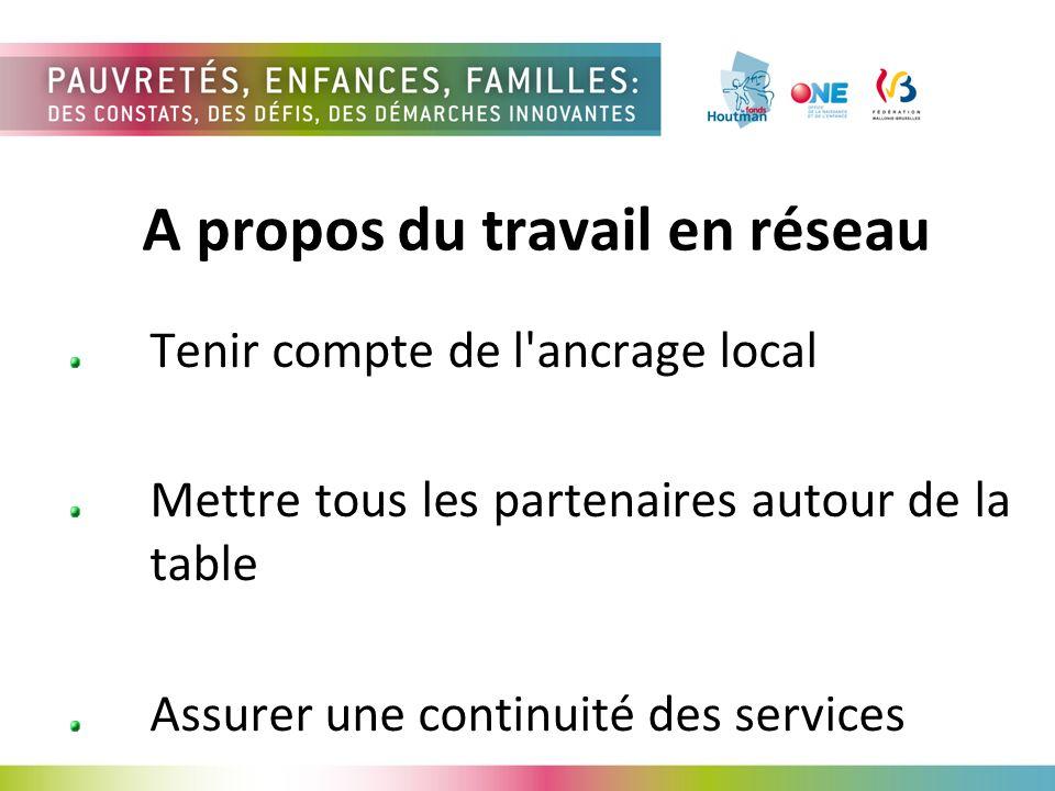 A propos du travail en réseau Tenir compte de l ancrage local Mettre tous les partenaires autour de la table Assurer une continuité des services