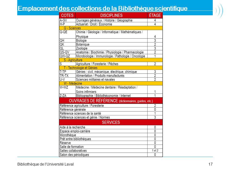 17Bibliothèque de l'Université Laval Emplacement des collections de la Biblioth è que scientifique