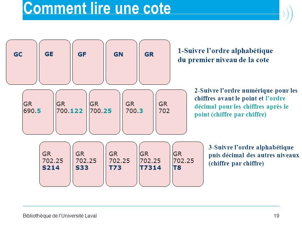 19Bibliothèque de l'Université Laval 1-Suivre lordre alphabétique du premier niveau de la cote 2-Suivre lordre numérique pour les chiffres avant le po