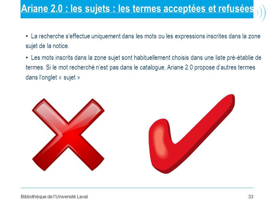 33Bibliothèque de l'Université Laval Ariane 2.0 : les sujets : les termes acceptées et refusées La recherche s'effectue uniquement dans les mots ou le
