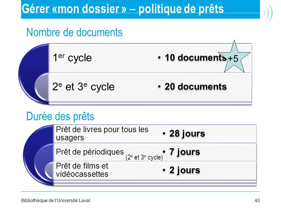 40Bibliothèque de l'Université Laval Gérer «mon dossier » – politique de prêts Nombre de documents Durée des prêts 1 er cycle 2 e et 3 e cycle 10 docu
