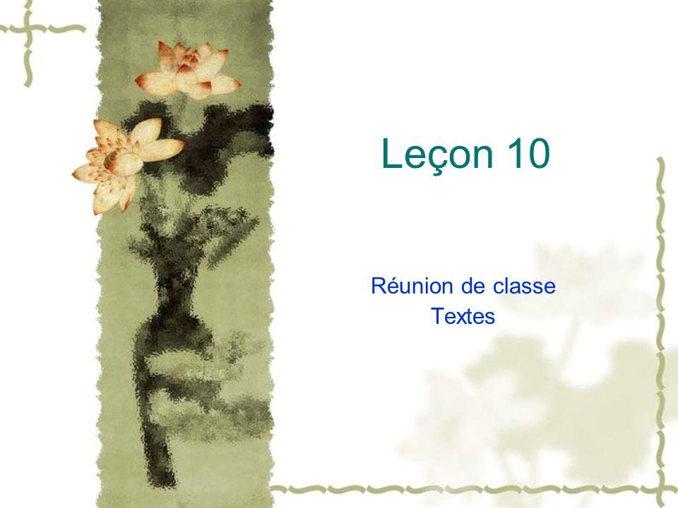 Leçon 10 Réunion de classe Textes