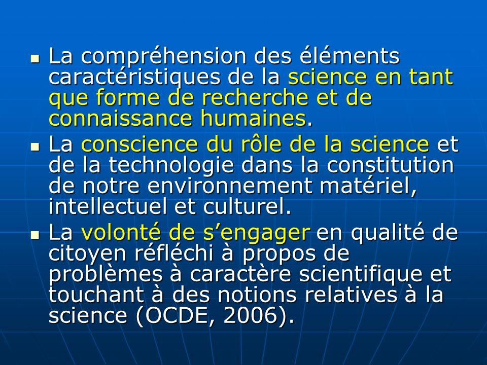 La compréhension des éléments caractéristiques de la science en tant que forme de recherche et de connaissance humaines. La compréhension des éléments