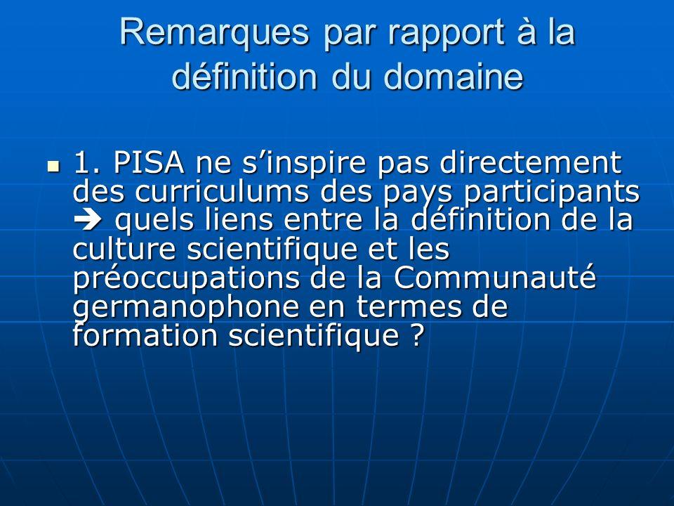 1. PISA ne sinspire pas directement des curriculums des pays participants quels liens entre la définition de la culture scientifique et les préoccupat
