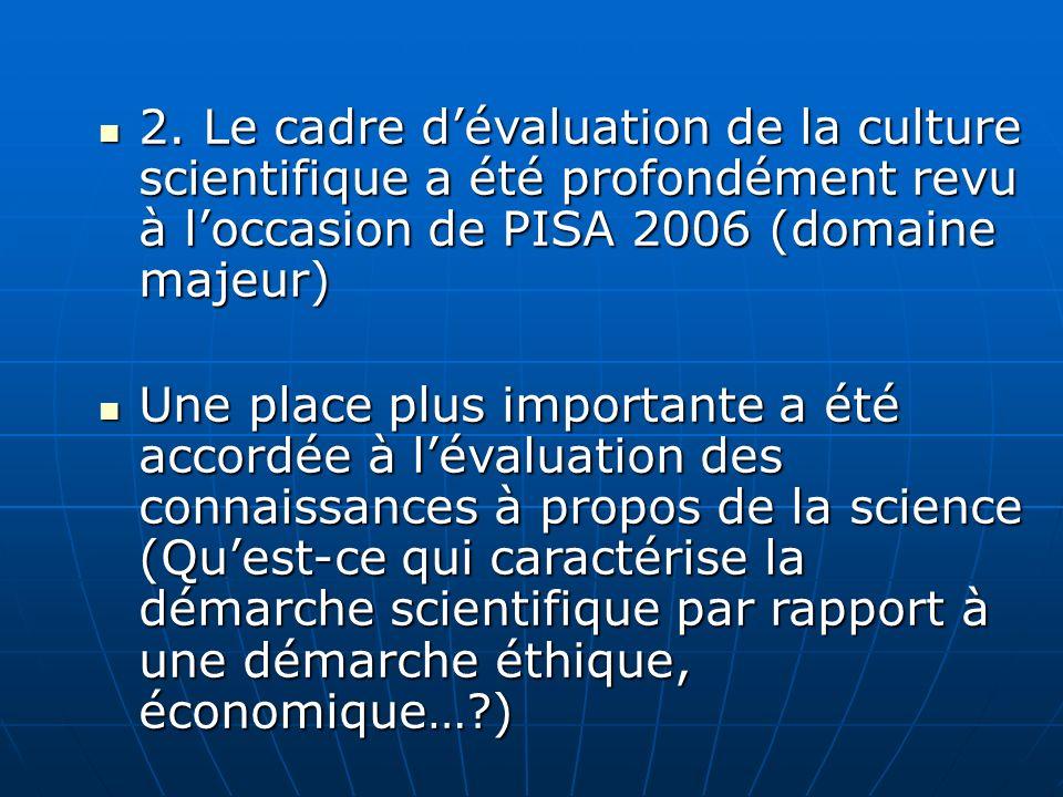 2. Le cadre dévaluation de la culture scientifique a été profondément revu à loccasion de PISA 2006 (domaine majeur) 2. Le cadre dévaluation de la cul