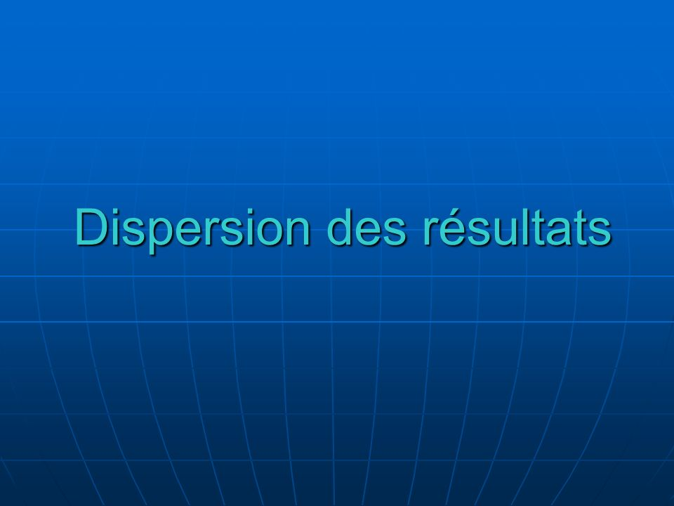Dispersion des résultats