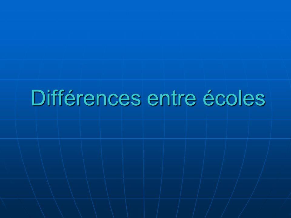 Différences entre écoles