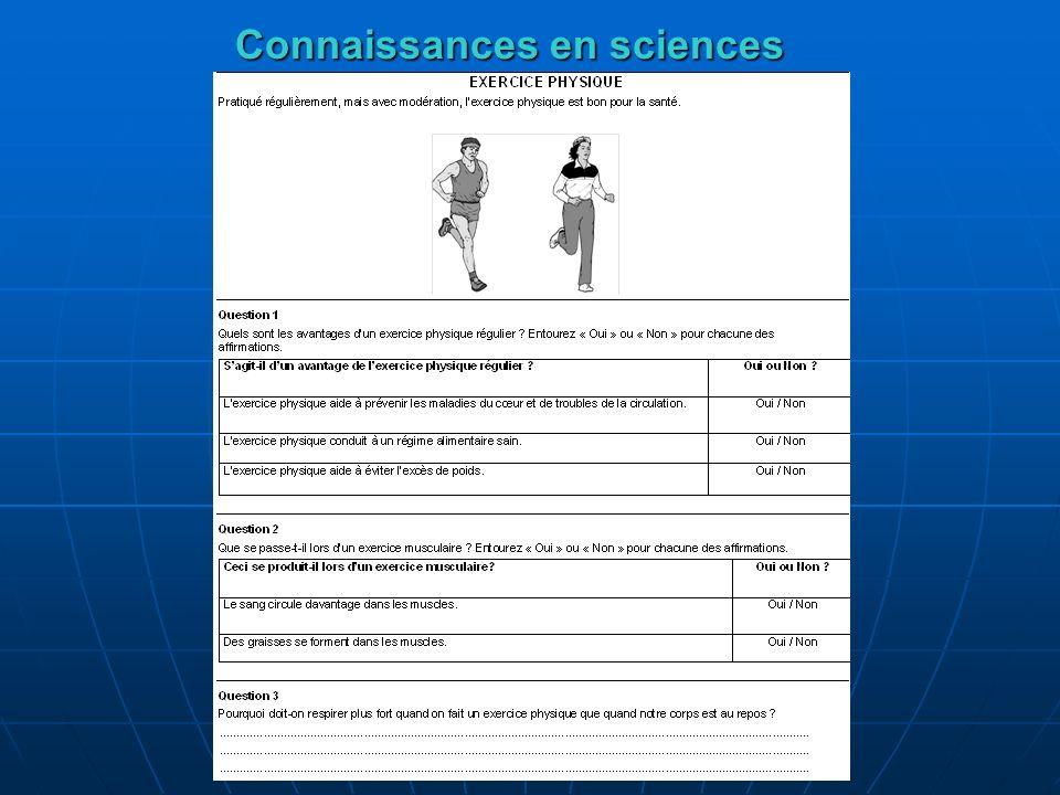 Connaissances en sciences