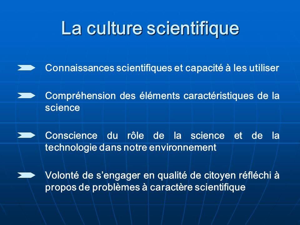 La culture scientifique Connaissances scientifiques et capacité à les utiliser Compréhension des éléments caractéristiques de la science Conscience du