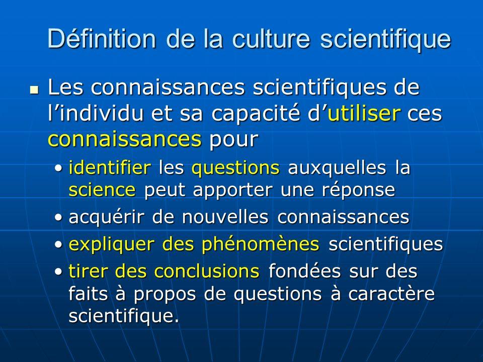 La compréhension des éléments caractéristiques de la science en tant que forme de recherche et de connaissance humaines.