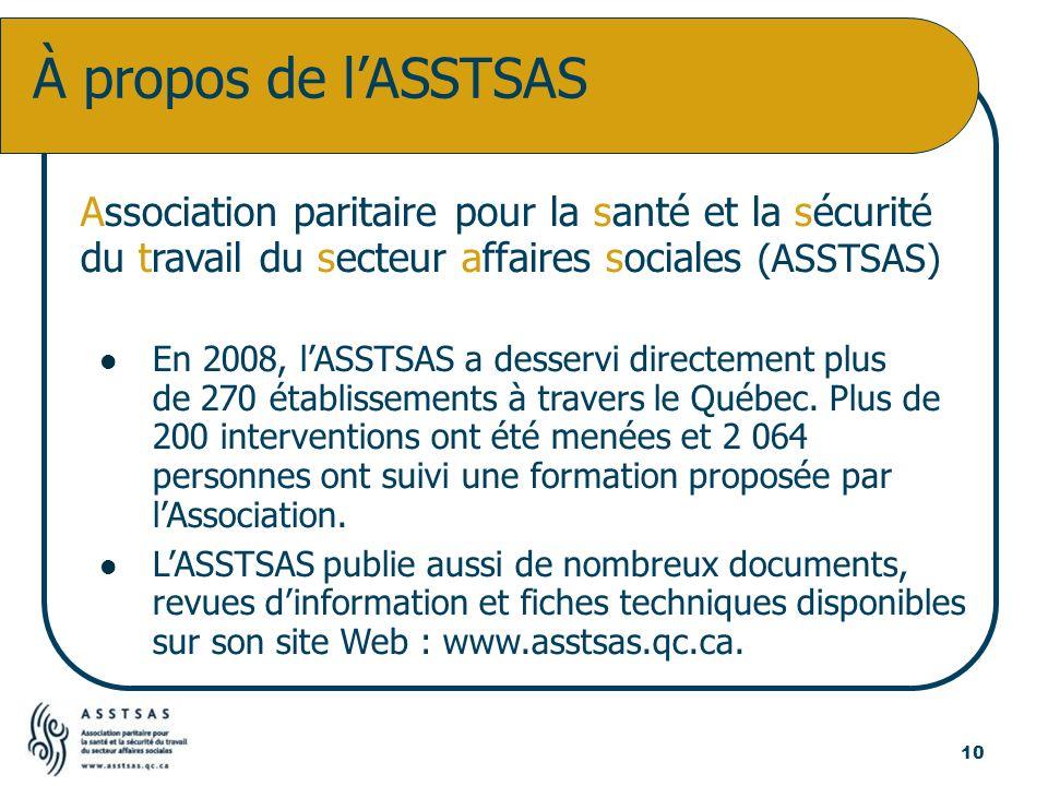 Association paritaire pour la santé et la sécurité du travail du secteur affaires sociales (ASSTSAS) En 2008, lASSTSAS a desservi directement plus de