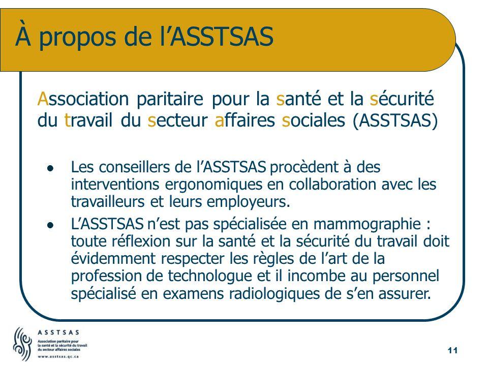 Association paritaire pour la santé et la sécurité du travail du secteur affaires sociales (ASSTSAS) Les conseillers de lASSTSAS procèdent à des inter