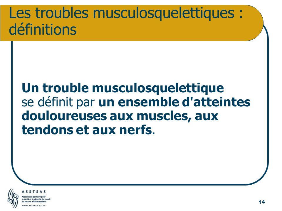Un trouble musculosquelettique se définit par un ensemble d'atteintes douloureuses aux muscles, aux tendons et aux nerfs. Les troubles musculosquelett