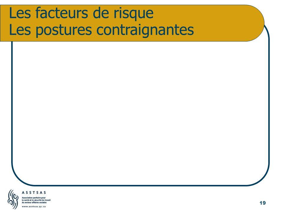 Les facteurs de risque Les postures contraignantes 19
