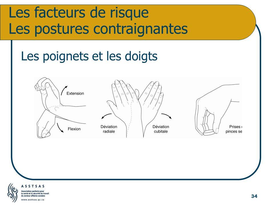 Les poignets et les doigts Les facteurs de risque Les postures contraignantes 34