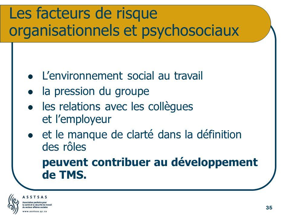 Lenvironnement social au travail la pression du groupe les relations avec les collègues et lemployeur et le manque de clarté dans la définition des rô