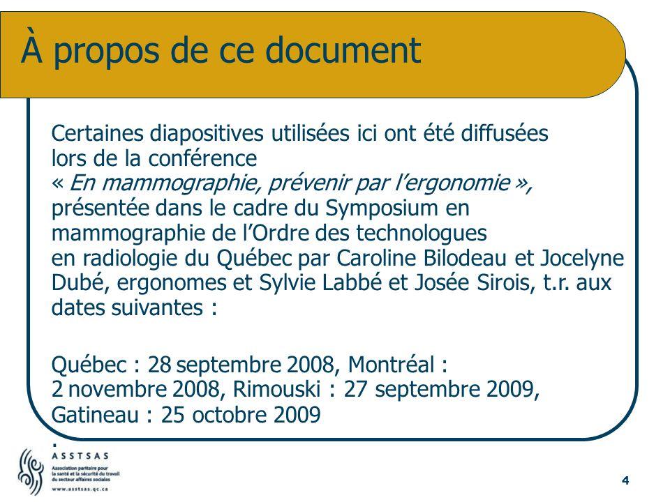 Certaines diapositives utilisées ici ont été diffusées lors de la conférence « En mammographie, prévenir par lergonomie », présentée dans le cadre du
