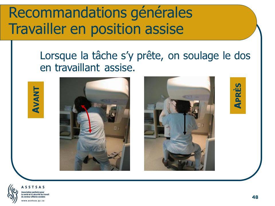 Recommandations générales Travailler en position assise Lorsque la tâche sy prête, on soulage le dos en travaillant assise. A VANT A PRÈS 48