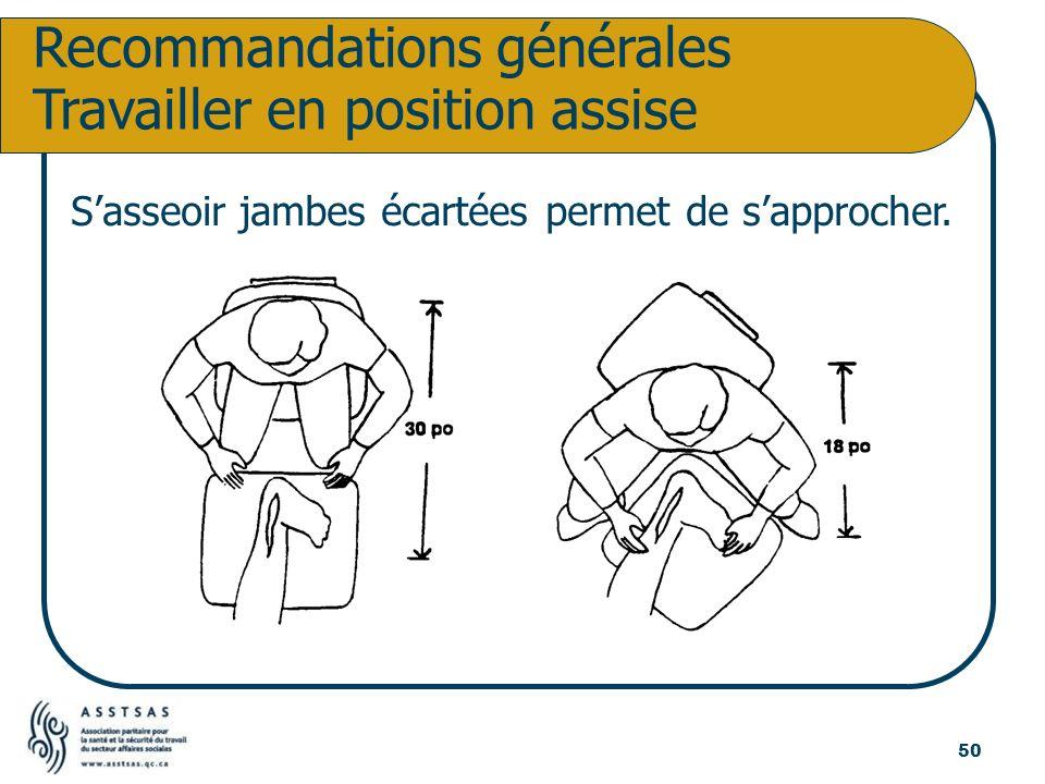 Recommandations générales Travailler en position assise Sasseoir jambes écartées permet de sapprocher. 50