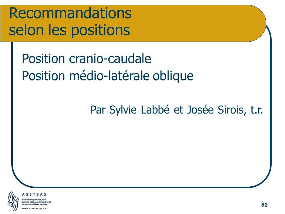 Position cranio-caudale Position médio-latérale oblique Par Sylvie Labbé et Josée Sirois, t.r. Recommandations selon les positions 52
