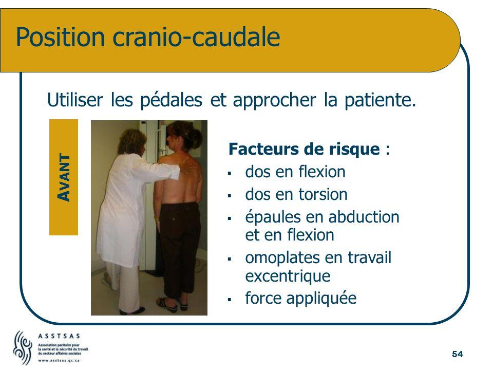 Utiliser les pédales et approcher la patiente. Facteurs de risque : dos en flexion dos en torsion épaules en abduction et en flexion omoplates en trav