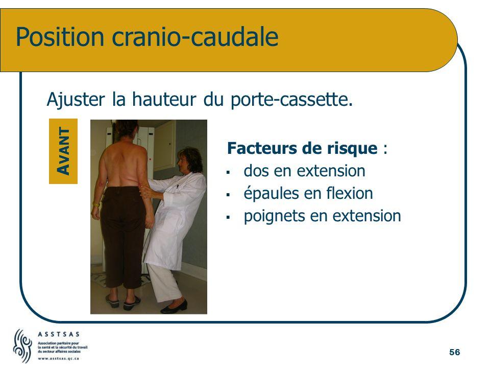 Position cranio-caudale A VANT Ajuster la hauteur du porte-cassette. Facteurs de risque : dos en extension épaules en flexion poignets en extension 56